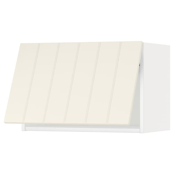 METOD Wandschrank horiz. m Drucksystem, weiß/Hittarp elfenbeinweiß, 60x40 cm