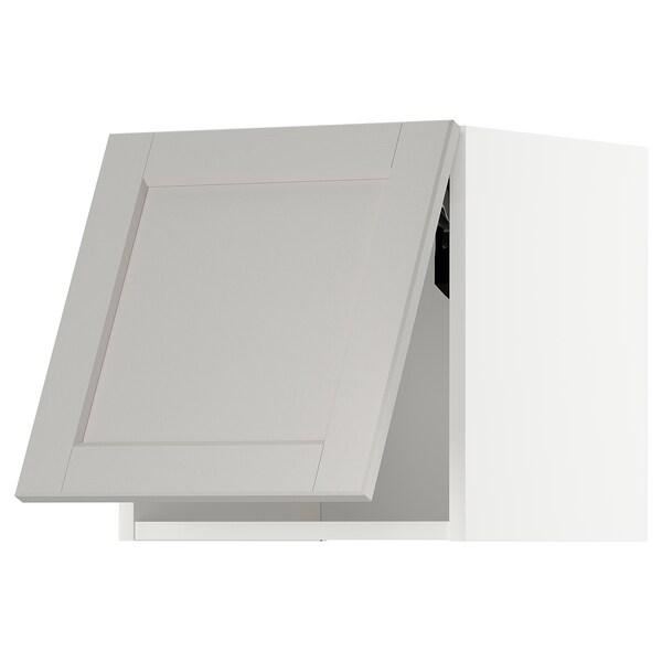 METOD Wandschrank horiz. m Drucksystem, weiß/Lerhyttan hellgrau, 40x40 cm