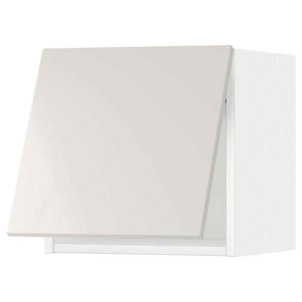 METOD Wandschrank horiz. m Drucksystem, weiß/Ringhult hellgrau, 40x40 cm
