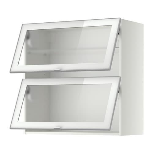 Metod wandschrank horiz m 2 glast ren wei jutis frostglas aluminium 80x80 cm ikea - Metod wandschrank ...