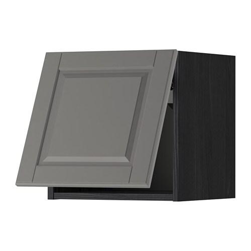 METOD Wandschrank horizontal - Holzeffekt schwarz, Bodbyn grau ...