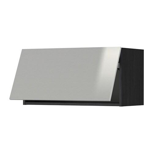 METOD Wandschrank horizontal Holzeffekt schwarz Grevsta