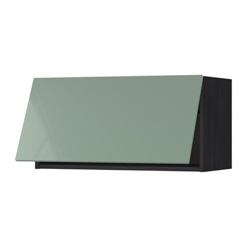 METOD Wandschrank horizontal Holzeffekt schwarz Kallarp