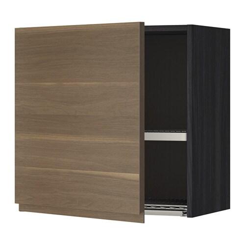 metod wandschrank mit abtropfgestell holzeffekt schwarz voxtorp nussbaumnachbildung 60x60 cm. Black Bedroom Furniture Sets. Home Design Ideas