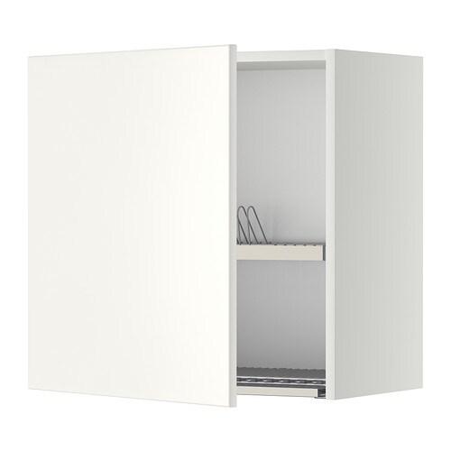 METOD Wandschrank mit Abtropfgestell - weiß, Veddinge weiß, 60x60 cm ...