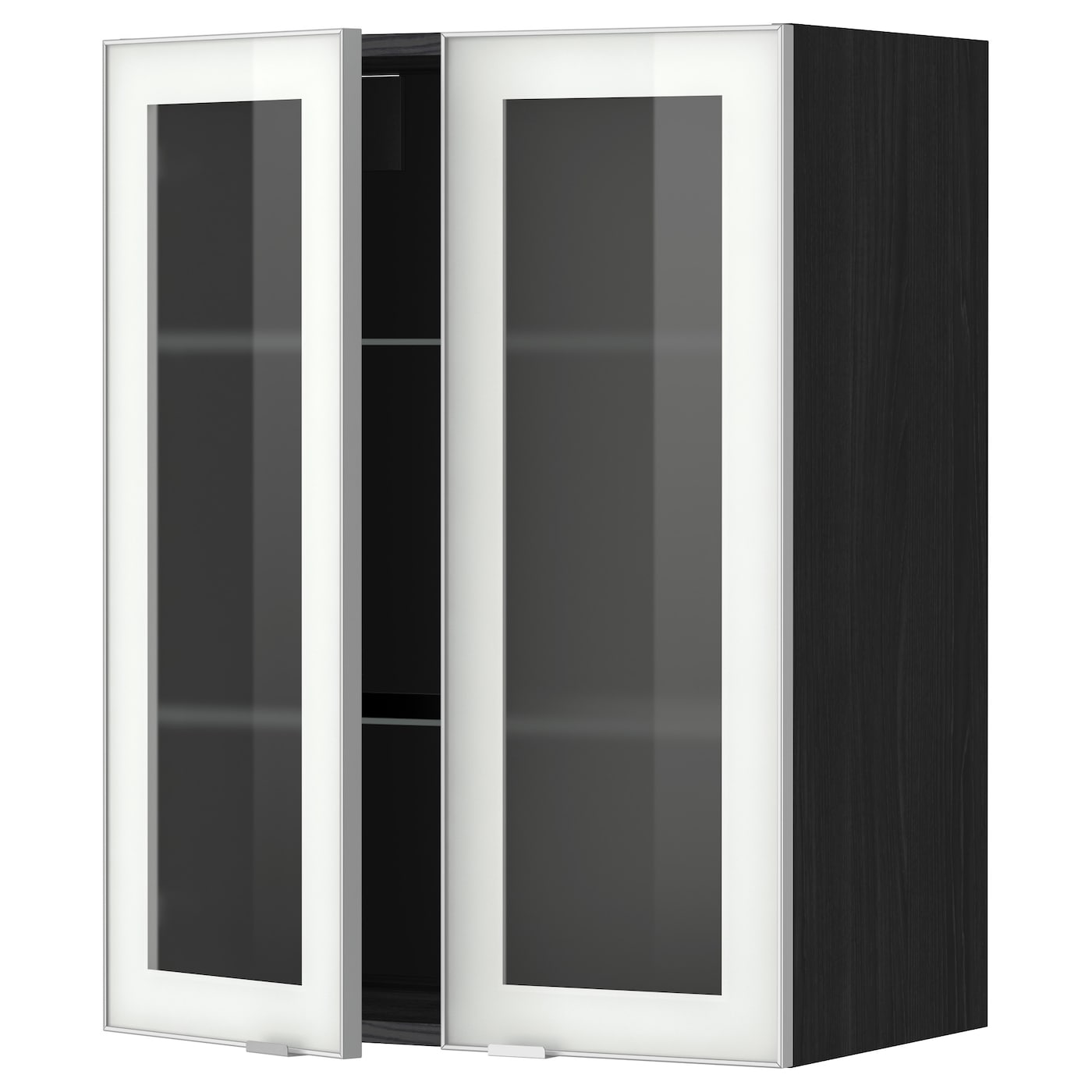 METOD, Wandschrank mit Böden/2 Glastüren, schwarz 799.198.51