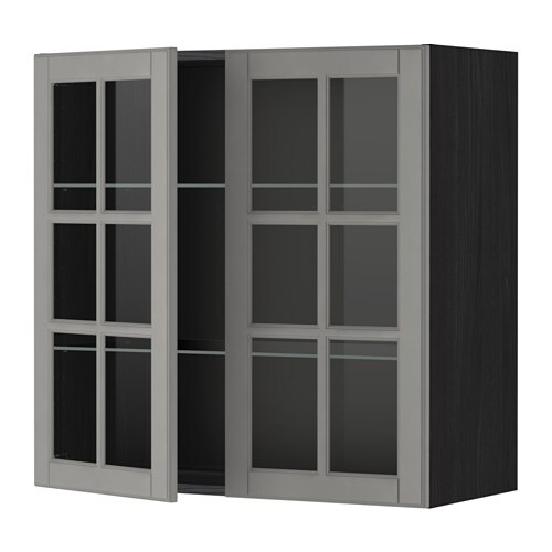 metod wandschrank mit b den 2 glast ren holzeffekt schwarz bodbyn grau 80x80 cm ikea. Black Bedroom Furniture Sets. Home Design Ideas