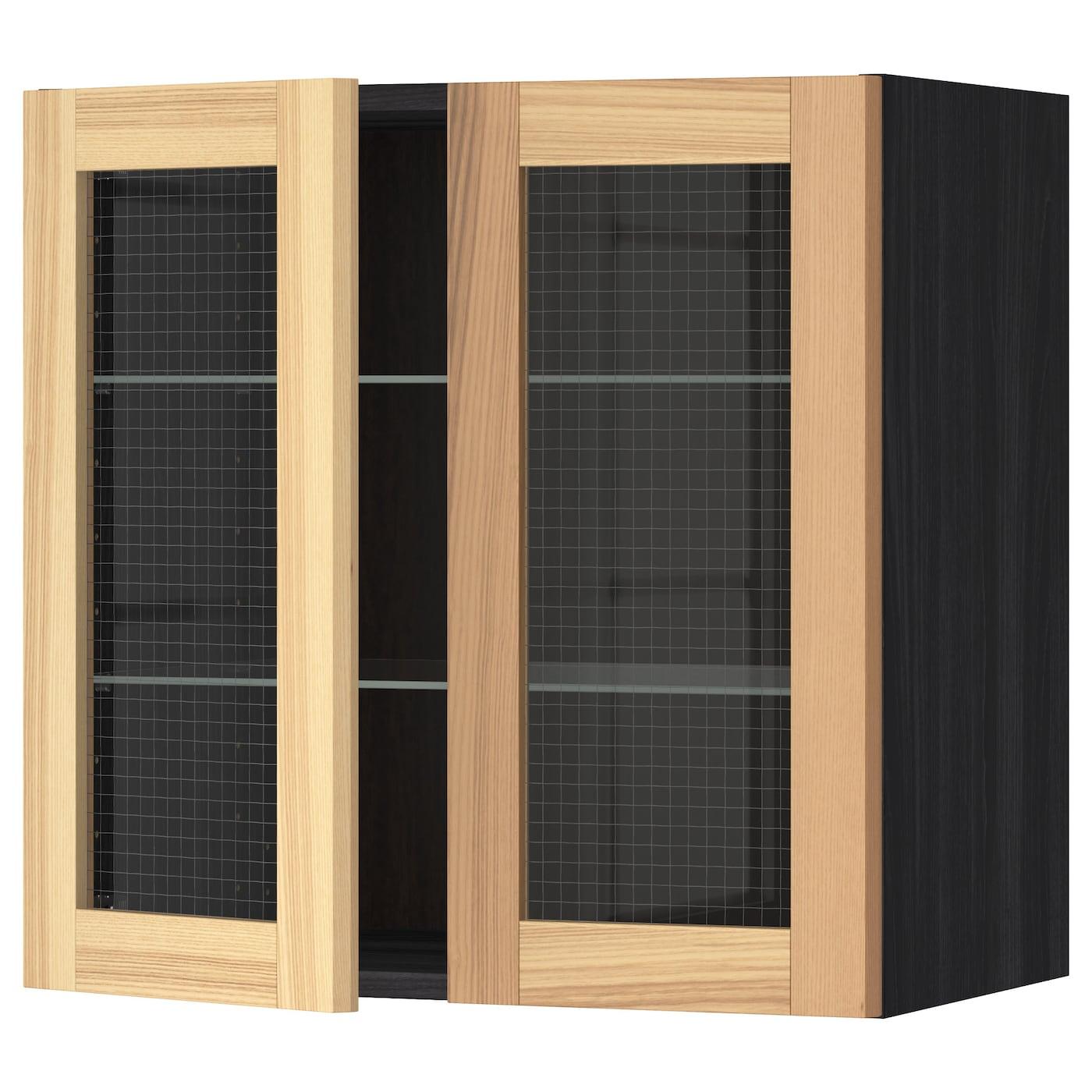METOD, Wandschrank mit Böden/2 Glastüren, schwarz 991.342.46