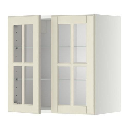 METOD Wandschrank mit Böden/2 Glastüren - weiß, Jutis Frostglas ... | {Kücheneckschrank 80x80 16}