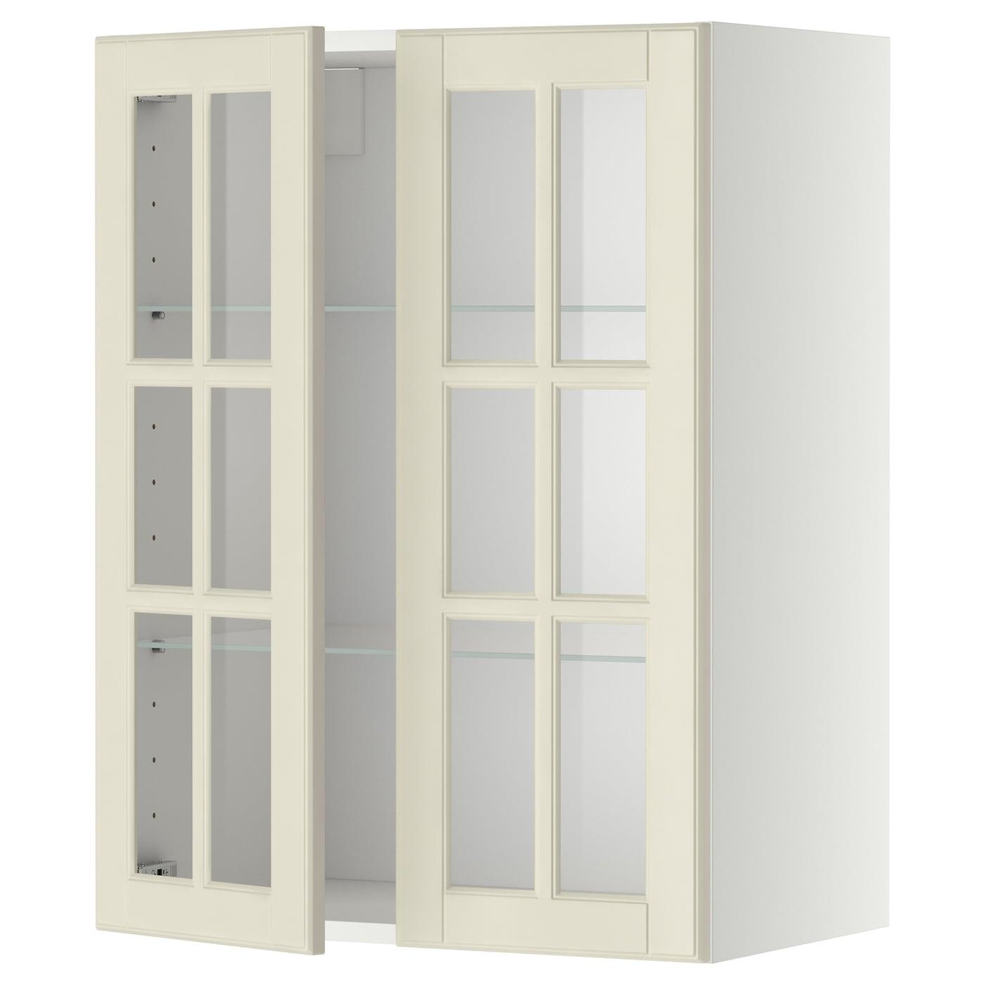 METOD, Wandschrank mit Böden/2 Glastüren, weiß 899.075.22