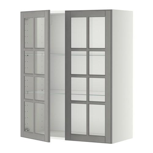 metod wandschrank mit b den 2 glast ren wei bodbyn grau 80x100 cm ikea. Black Bedroom Furniture Sets. Home Design Ideas
