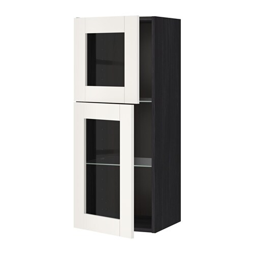 metod wandschrank mit b den 2 glast ren holzeffekt schwarz s vedal wei ikea. Black Bedroom Furniture Sets. Home Design Ideas