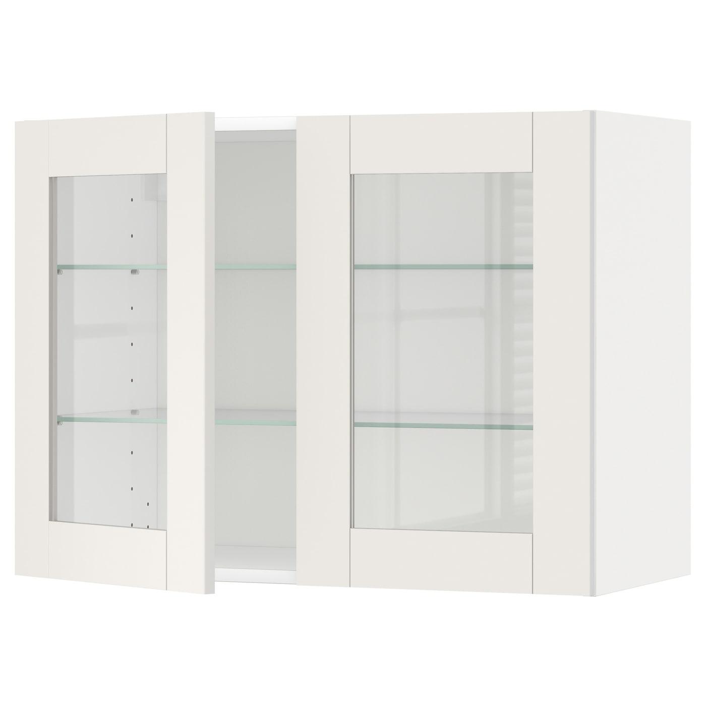 METOD, Wandschrank mit Böden/2 Glastüren, weiß 290.641.24