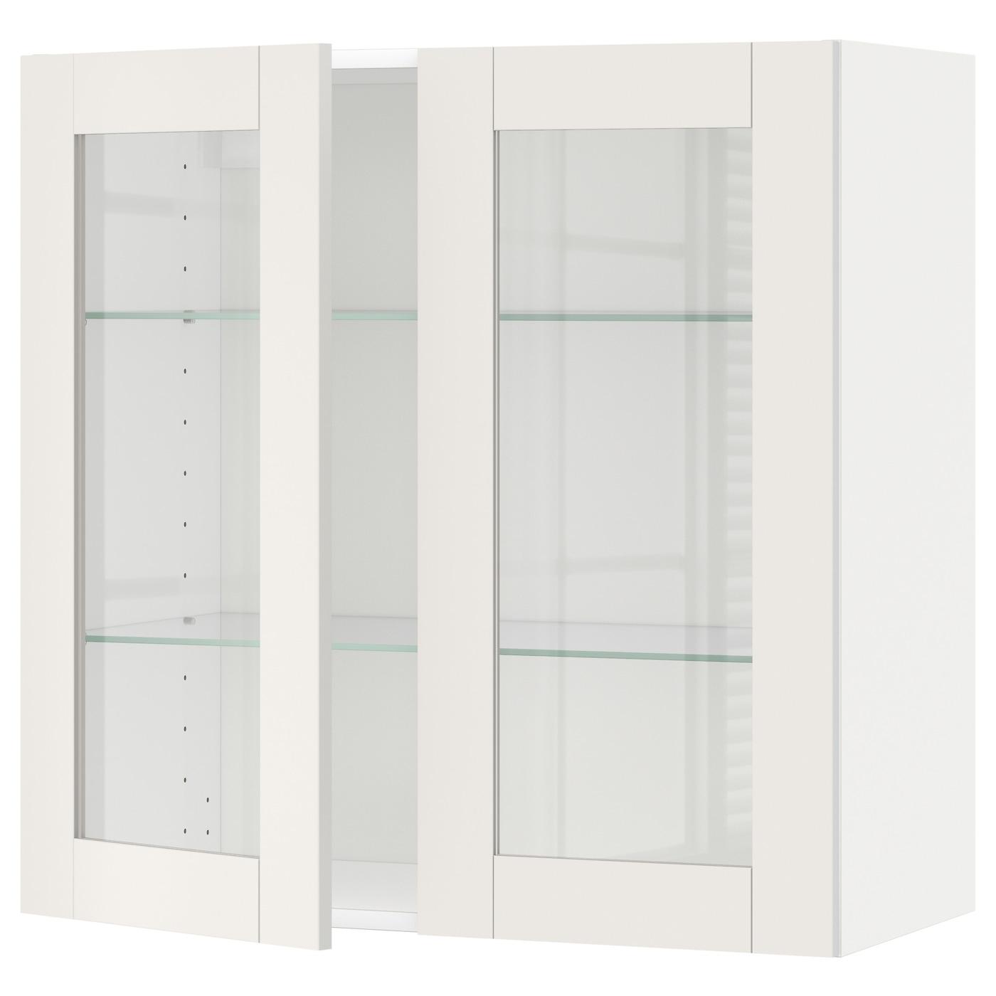 METOD, Wandschrank mit Böden/2 Glastüren, weiß 790.641.26