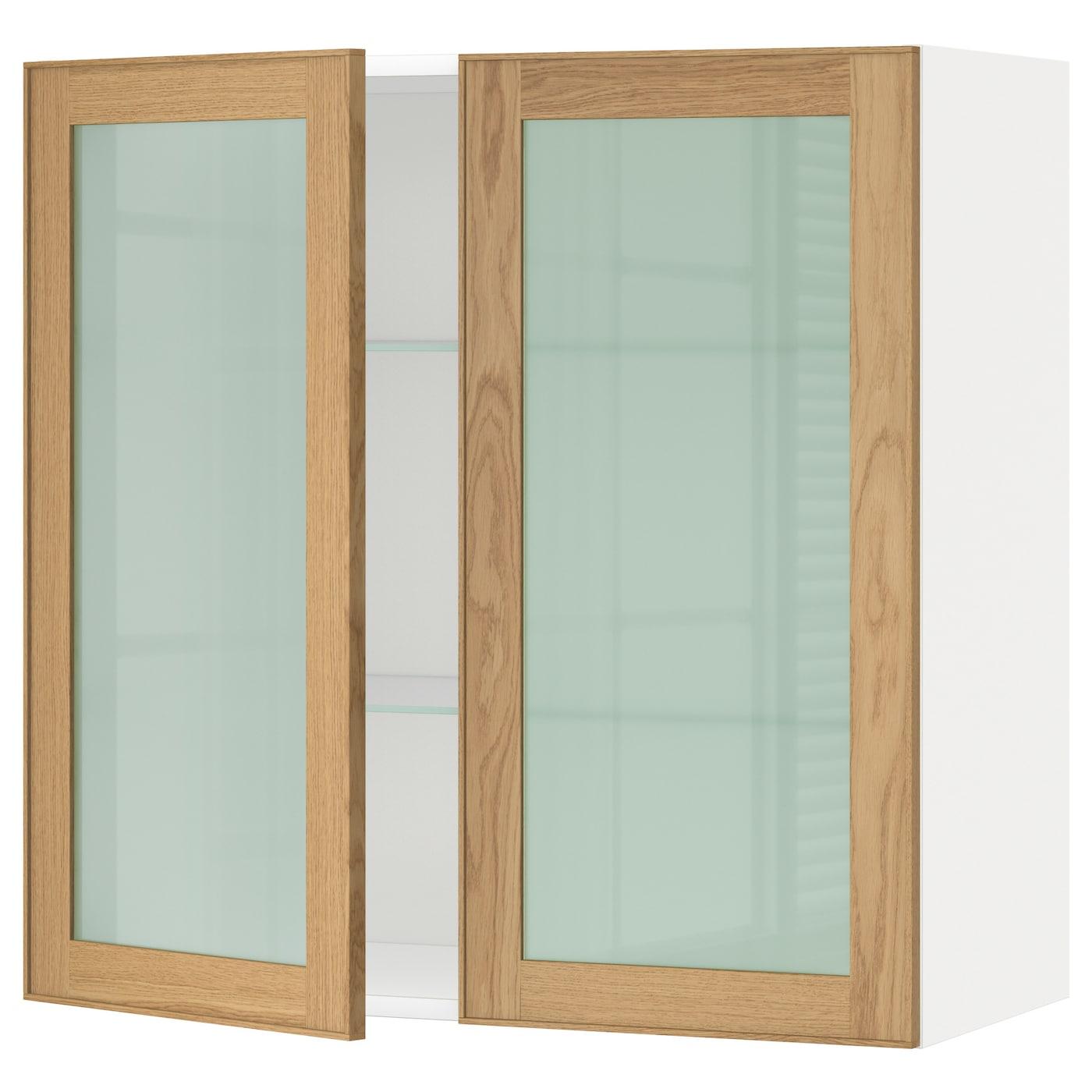 METOD, Wandschrank mit Böden/2 Glastüren, weiß 190.532.44