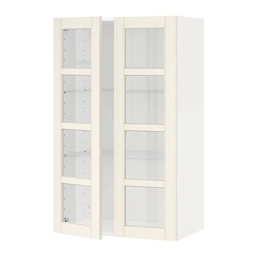 METOD Wandschrank mit Böden/2 Glastüren - weiß, Hittarp ...
