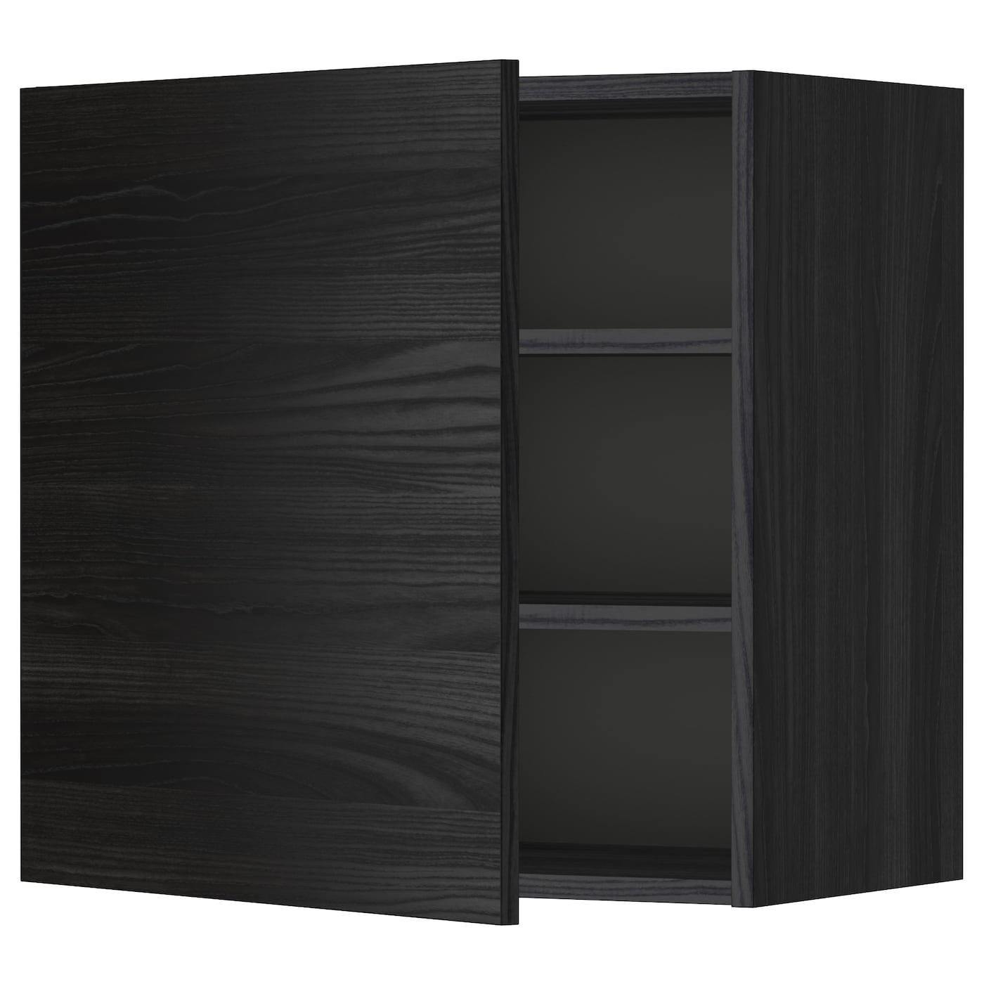 METOD, Wandschrank mit Böden, schwarz 299.181.04