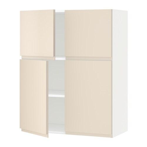 Cuisine Moderne Noir Et Rouge :  Wandschrank mit Böden4 Türen  weiß, Voxtorp hellbeige  IKEA