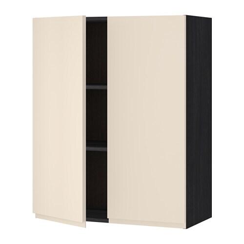 metod wandschrank mit b den und 2 t ren holzeffekt schwarz voxtorp hellbeige 80x100 cm ikea. Black Bedroom Furniture Sets. Home Design Ideas