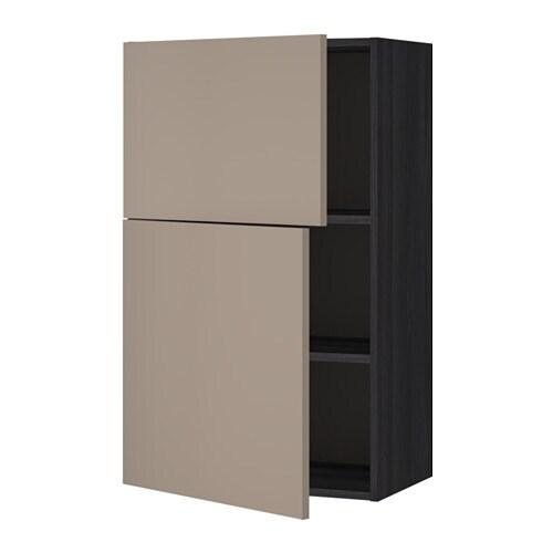 metod wandschrank mit b den und 2 t ren holzeffekt schwarz ubbalt dunkelbeige ikea. Black Bedroom Furniture Sets. Home Design Ideas