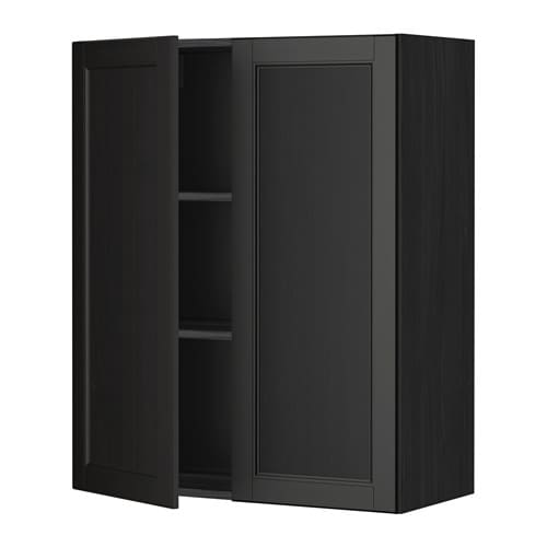 metod wandschrank mit b den und 2 t ren holzeffekt schwarz laxarby schwarzbraun 80x100 cm ikea. Black Bedroom Furniture Sets. Home Design Ideas