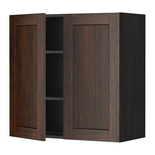 metod wandschrank mit b den und 2 t ren holzeffekt schwarz edserum holzeffekt braun 80x80 cm. Black Bedroom Furniture Sets. Home Design Ideas