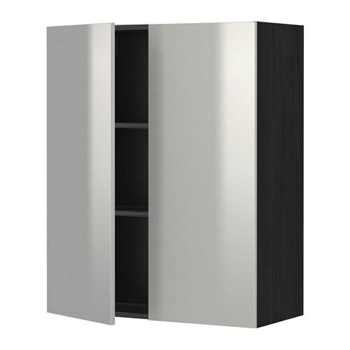 metod wandschrank mit b den und 2 t ren holzeffekt schwarz grevsta edelstahl 80x100 cm ikea. Black Bedroom Furniture Sets. Home Design Ideas