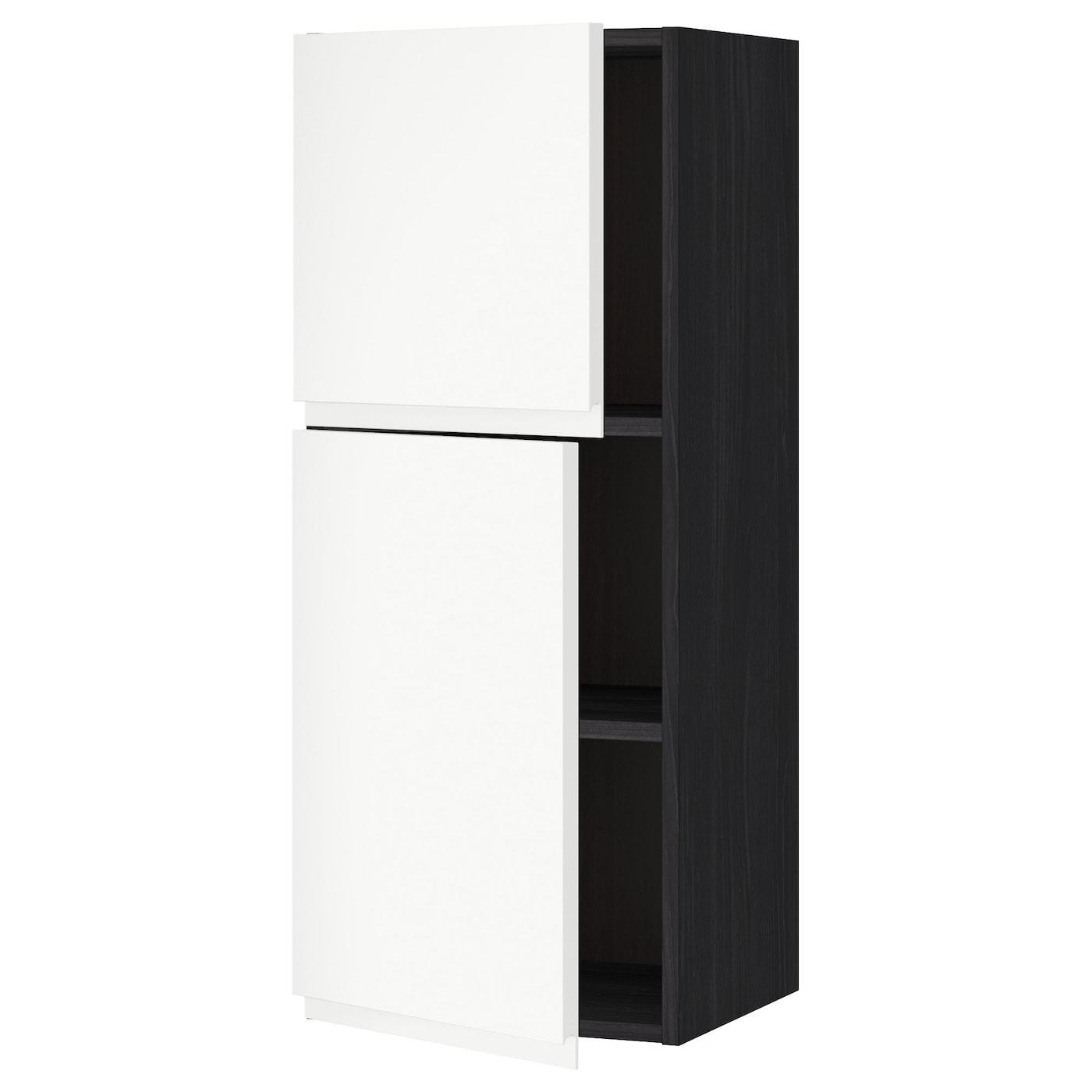 METOD, Wandschrank mit Böden und 2 Türen, schwarz 091.114.52