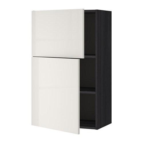 metod wandschrank mit b den und 2 t ren holzeffekt schwarz ringhult hochglanz hellgrau ikea. Black Bedroom Furniture Sets. Home Design Ideas