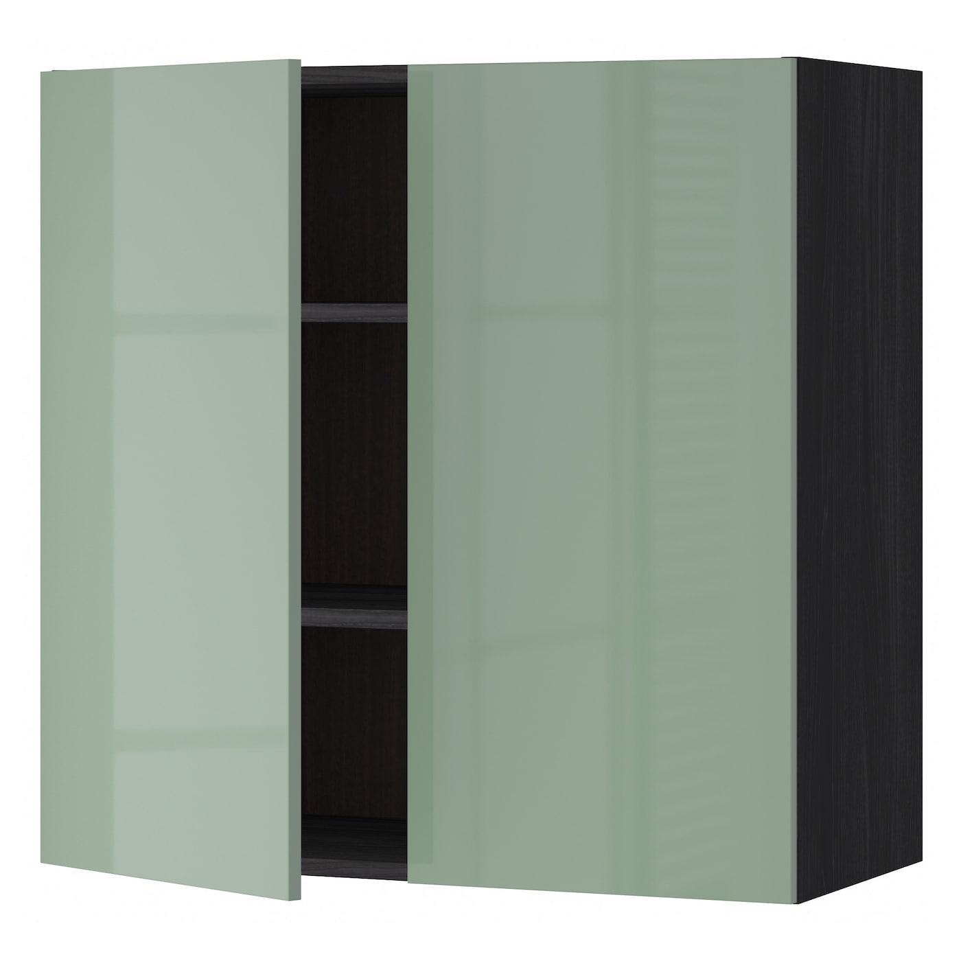 METOD, Wandschrank mit Böden und 2 Türen, schwarz 191.443.53
