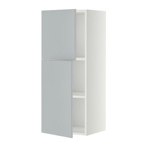 metod wandschrank mit b den und 2 t ren wei veddinge grau 40x100 cm ikea. Black Bedroom Furniture Sets. Home Design Ideas