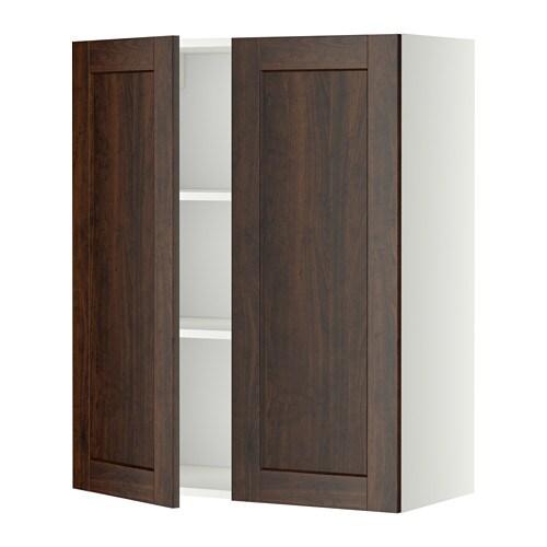 metod wandschrank mit b den und 2 t ren wei edserum holzeffekt braun 80x100 cm ikea. Black Bedroom Furniture Sets. Home Design Ideas