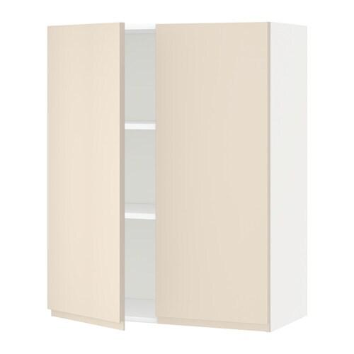 metod wandschrank mit b den und 2 t ren wei voxtorp hellbeige 80x100 cm ikea. Black Bedroom Furniture Sets. Home Design Ideas