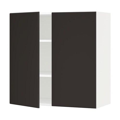 metod wandschrank mit b den und 2 t ren wei kungsbacka anthrazit 80x80 cm ikea. Black Bedroom Furniture Sets. Home Design Ideas