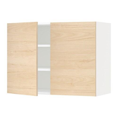 metod wandschrank mit b den und 2 t ren wei askersund eschenachbildung hell 80x60 cm ikea. Black Bedroom Furniture Sets. Home Design Ideas