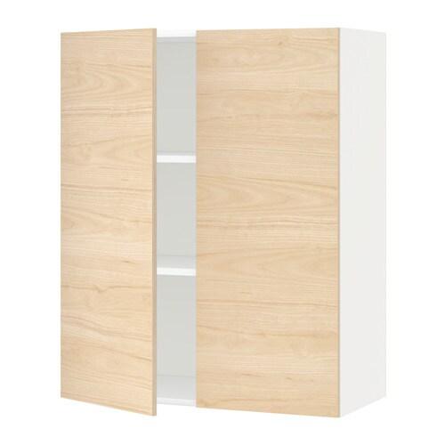 metod wandschrank mit b den und 2 t ren wei askersund eschenachbildung hell 80x100 cm ikea. Black Bedroom Furniture Sets. Home Design Ideas