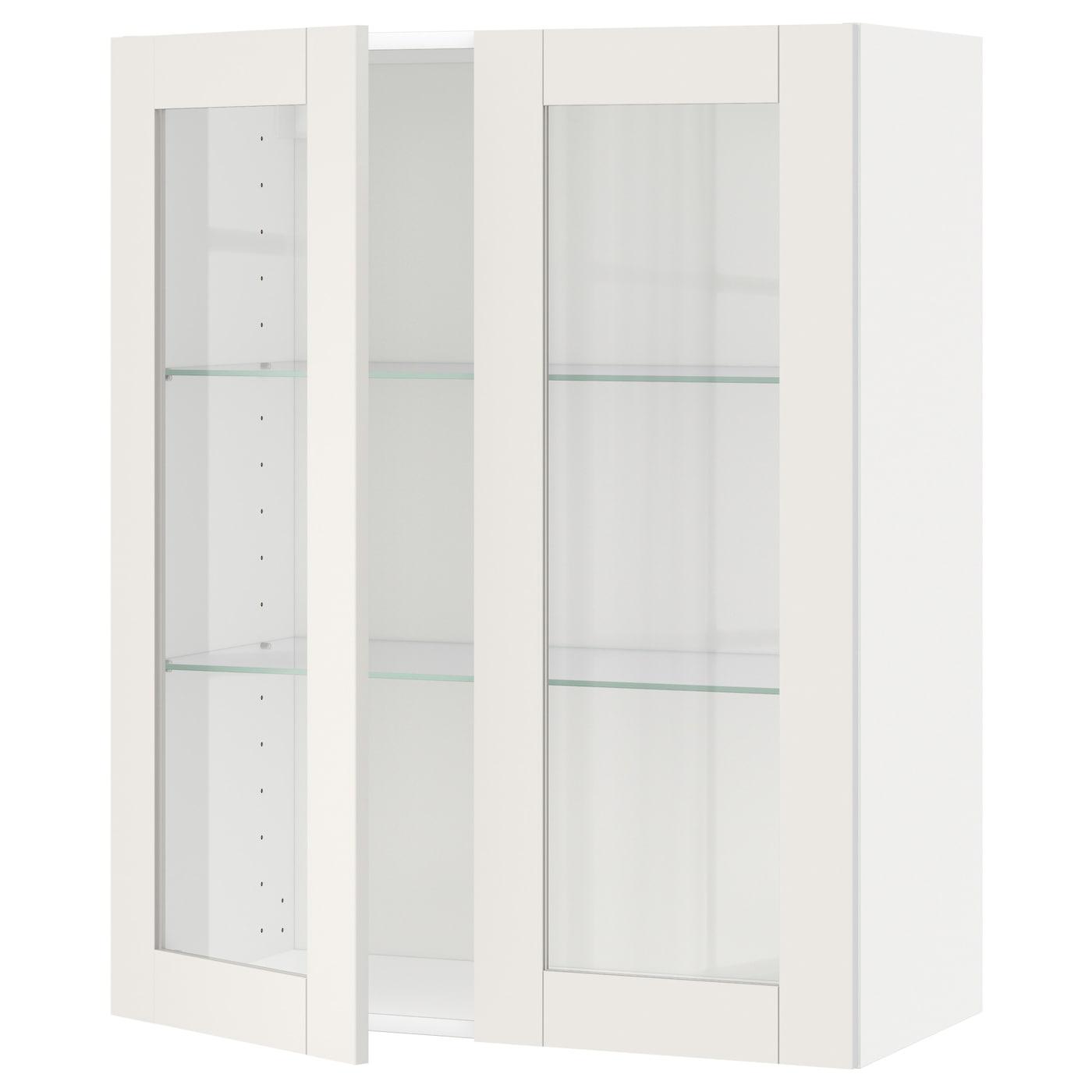 METOD Wandschrank mit Böden/2 Glastüren