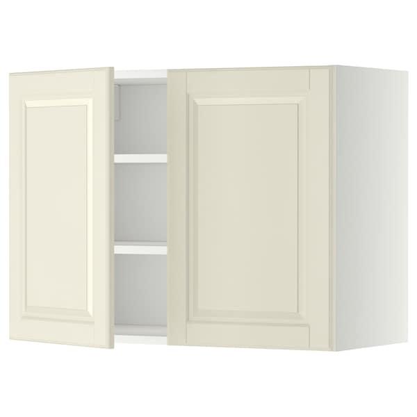 METOD Wandschrank mit Böden und 2 Türen, weiß/Bodbyn elfenbeinweiß, 80x60 cm