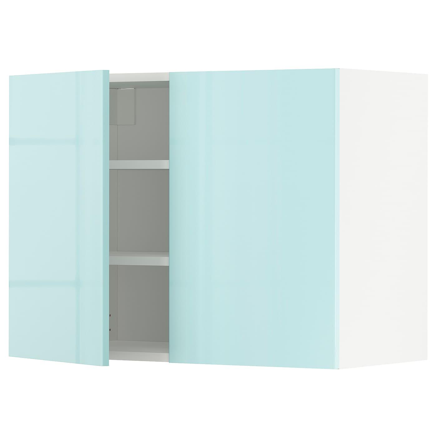 METOD Wandschrank mit Böden und 21 Türen   weiß Järsta/Hochglanz helltürkis  21x21 cm