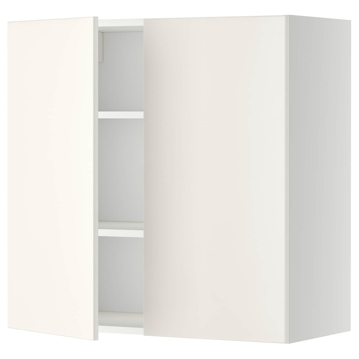 METOD Wandschrank mit Böden und 21 Türen   weiß/Veddinge weiß 21x21 cm