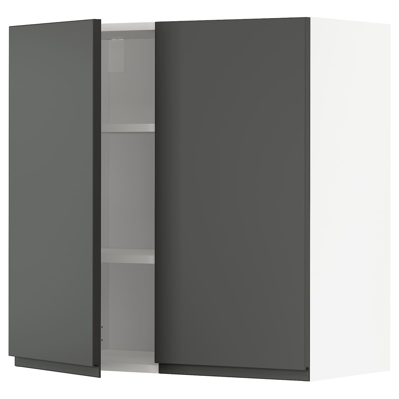 METOD Wandschrank mit Böden und 21 Türen   weiß/Voxtorp dunkelgrau 21x21 cm
