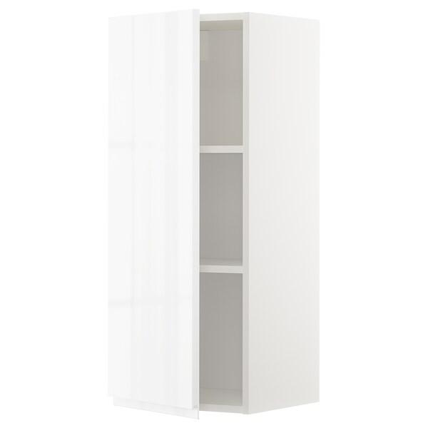 METOD Wandschrank mit Böden, weiß/Voxtorp Hochglanz/weiß, 40x100 cm