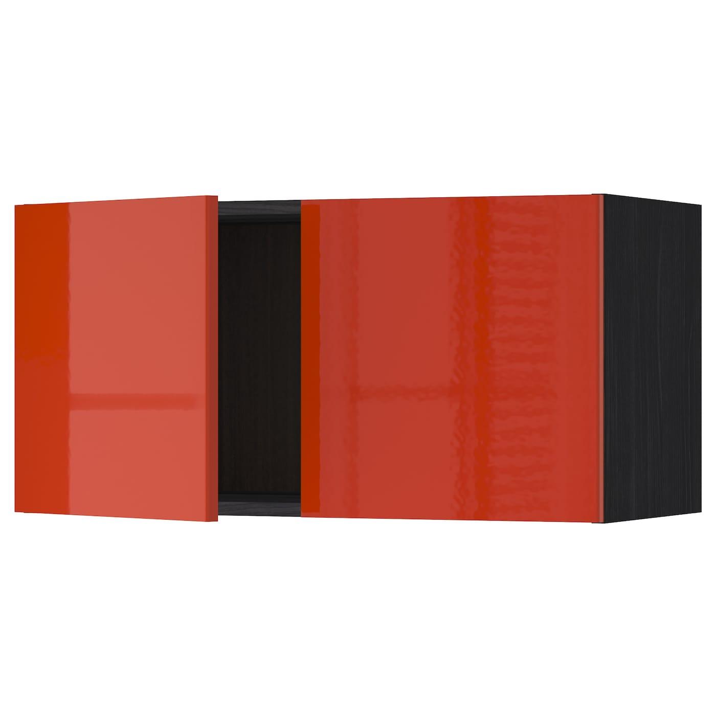 METOD, Wandschrank mit 2 Türen, schwarz, orange 291.587.59