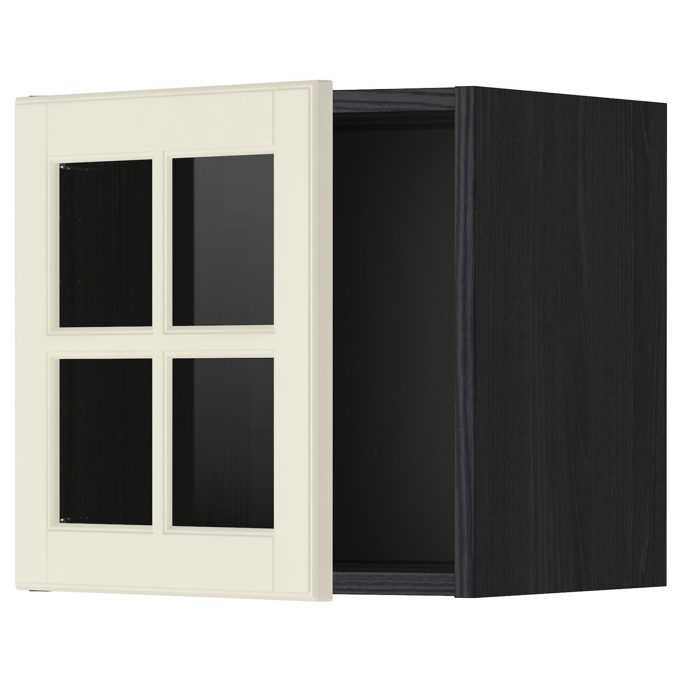 METOD, Wandschrank mit Vitrinentür, schwarz 599.075.09
