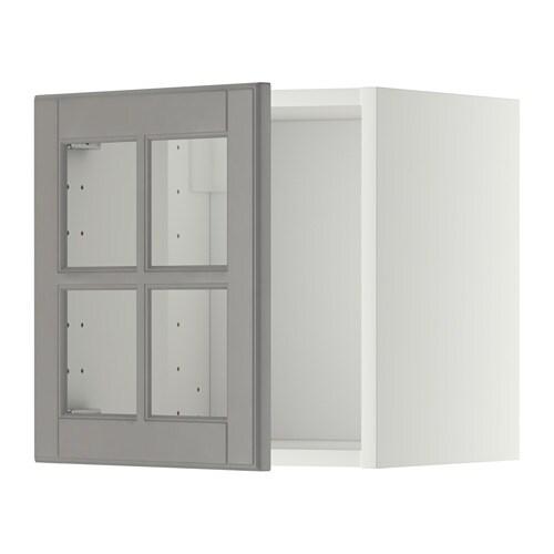 metod wandschrank mit vitrinent r wei bodbyn grau ikea. Black Bedroom Furniture Sets. Home Design Ideas