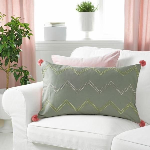 MOAKAJSA Kissenbezug, Handarbeit grün/rosa, 40x65 cm