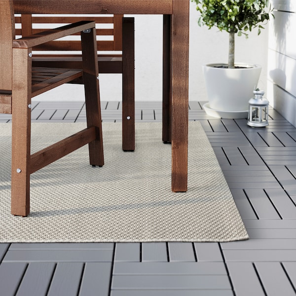 MORUM Teppich flach gewebt, drinnen/drau beige 230 cm 160 cm 5 mm 3.68 m² 1385 g/m²
