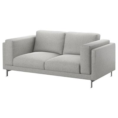 NOCKEBY 2er-Sofa, Tallmyra weiß/schwarz/verchromt