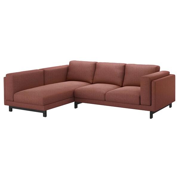 NOCKEBY 3er-Sofa mit Récamiere links/Tallmyra rostbraun/Holz 277 cm 82 cm 97 cm 175 cm 15 cm 60 cm 138 cm 44 cm