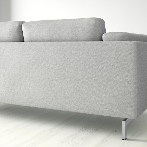NOCKEBY 3er-Sofa, mit Récamiere links/Tallmyra weiß/schwarz/verchromt